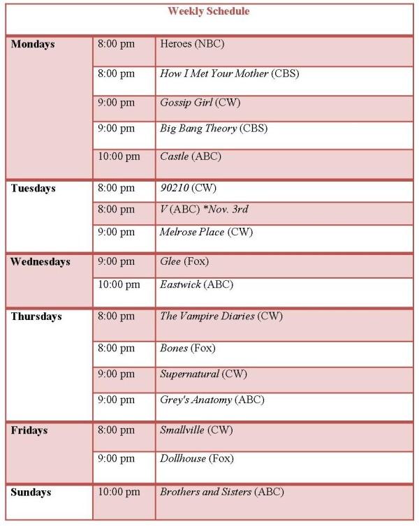 Weekly TV Schedule